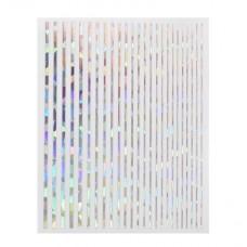 Полоски на ногти Joyful Nail серебро голография ассорти, лист 7,5 х 9,5 см