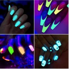 Набор неоновых светящихся в темноте пигментов для дизайна ногтей 12 цв