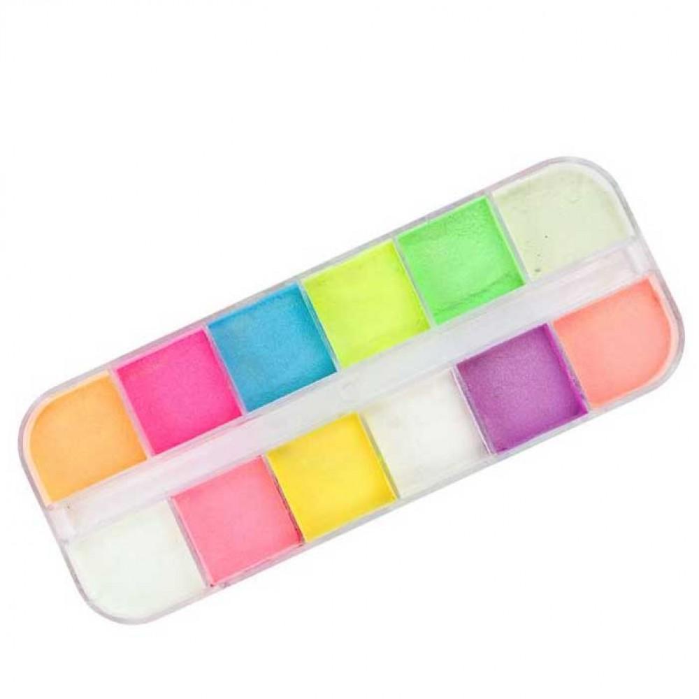 Набор люминесцентных светящихся пигментов для дизайна ногтей 12 цв