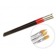 Набор кистей для геля черно-красная ручка 3шт