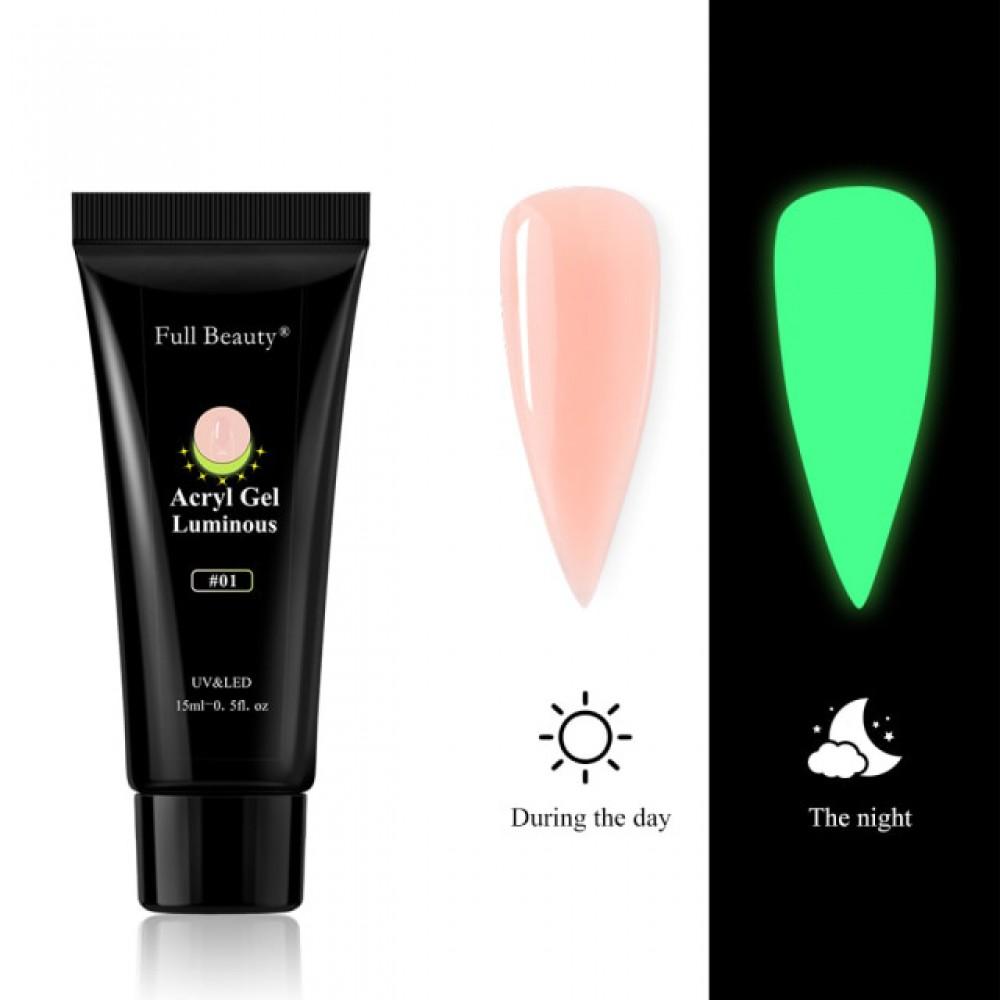 Full Beauty, Светоотражающий неоновый Полигель UV/LED Luminous 15 мл